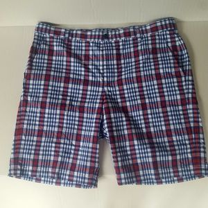 IZOD Golf Shorts Red White & Blue Plaid July 4th